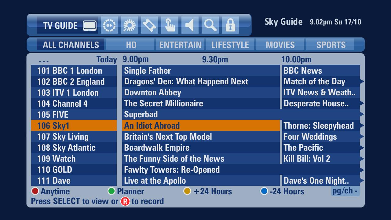 sky sports uk tv guide